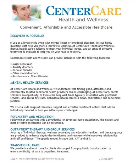 CHCS - Center Care Health and Wellness Flyer