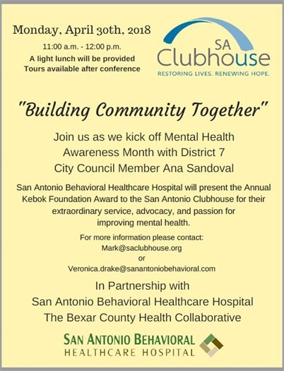 "SA Club House - ""Building Community Together"" - April 30th, 2018"