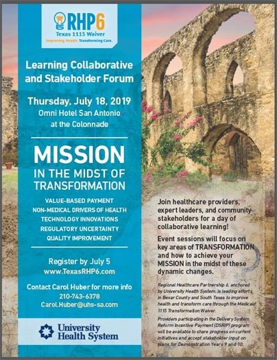 RHP 6 Learning Collaborative and Stakeholder Forum 7/18/2019