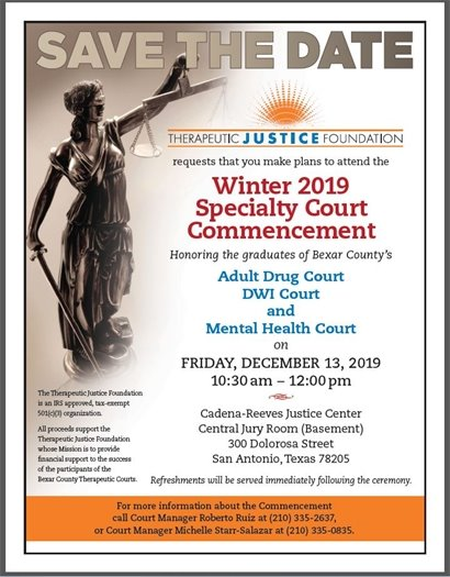 Save the Date - Specialty Court Commencement - Dec. 13, 2019