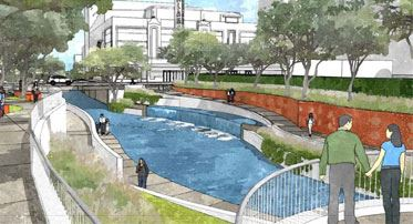 Rendering of the completed San Pedro Creek Cultural Park