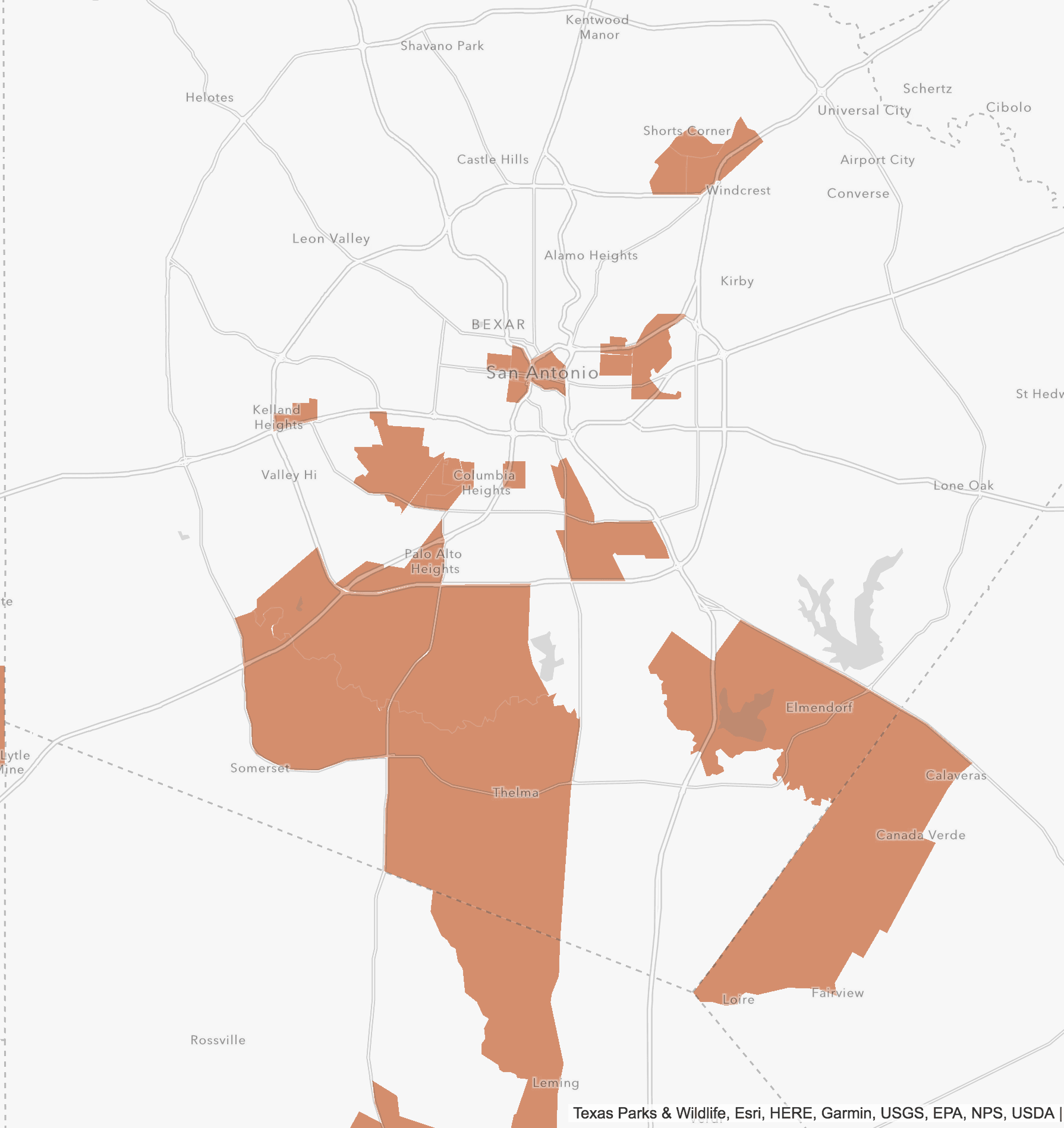 Map view of Bexar County Opportunity Zones